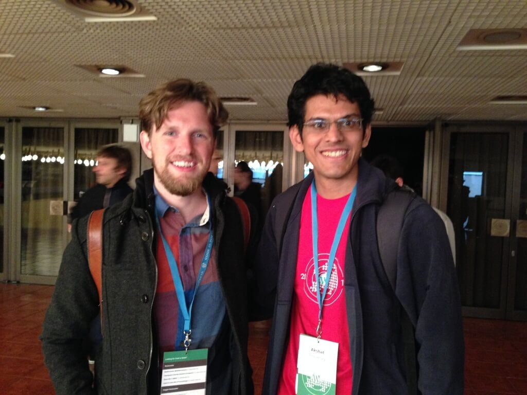 Akshat with WordPress founder Matt Mullenweg at WordCamp