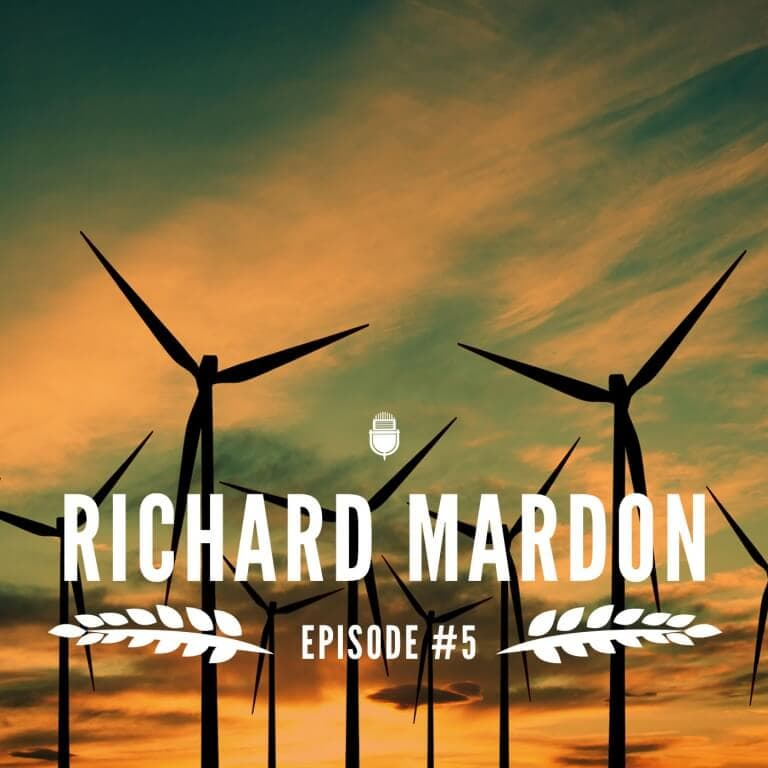 Podcast cover design with Richard Mardon and wind turbines in the background