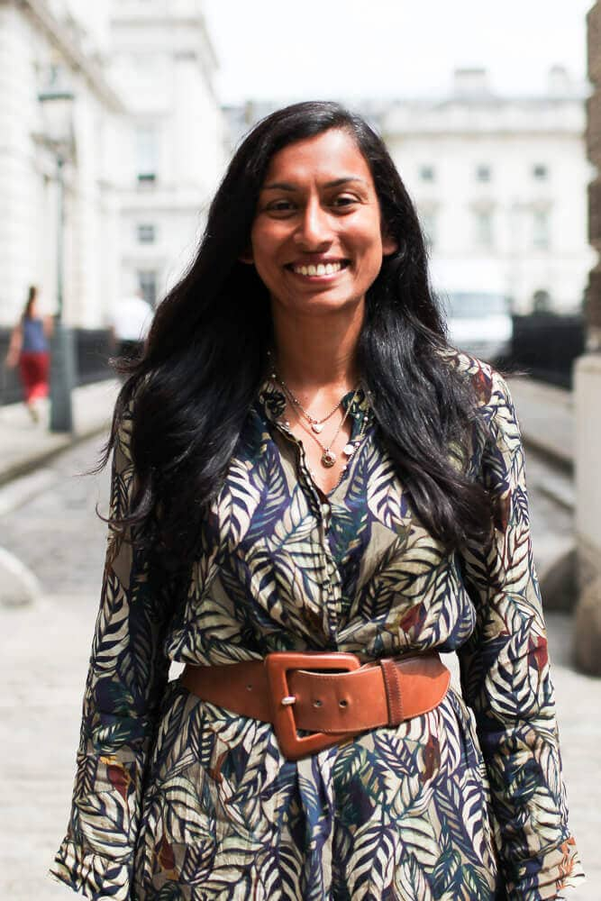Image of Vineeta standing outside Somerset House