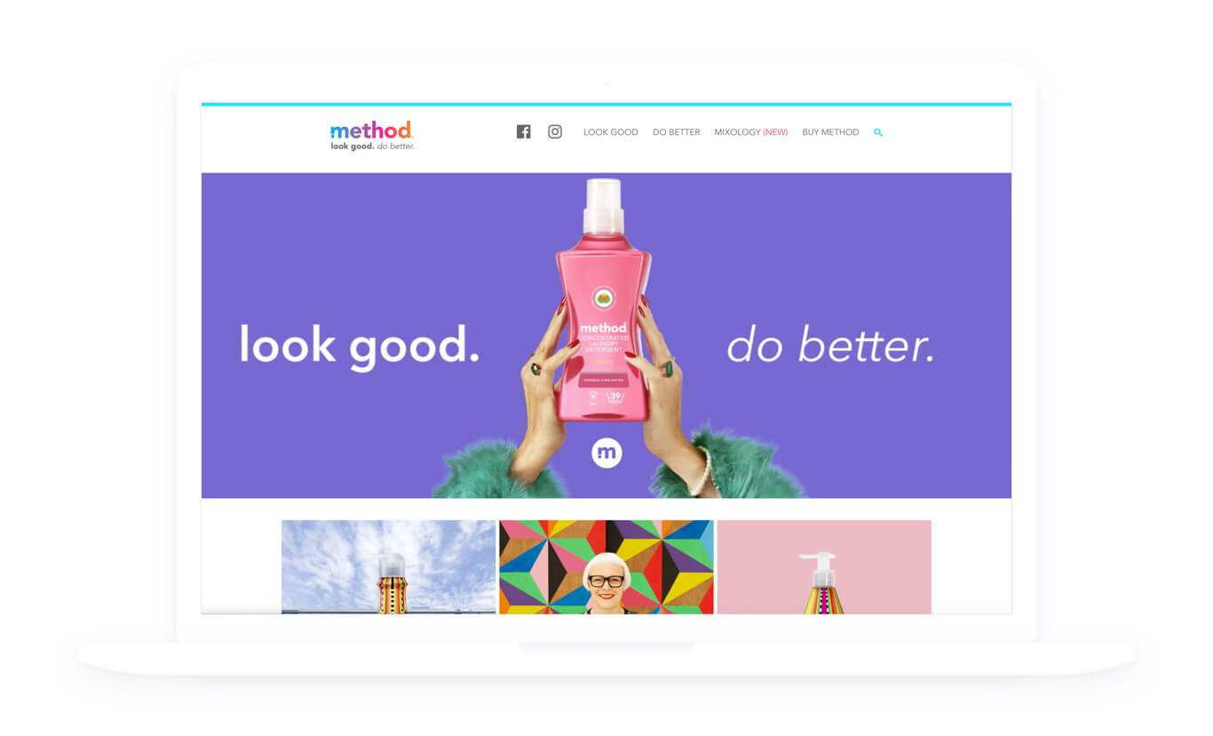 Image of the method homepage on a laptop, featuring an imagepartnered up on several redesigns of hand holding a pink laundry detergent against a purple background and the words 'look good. do better'