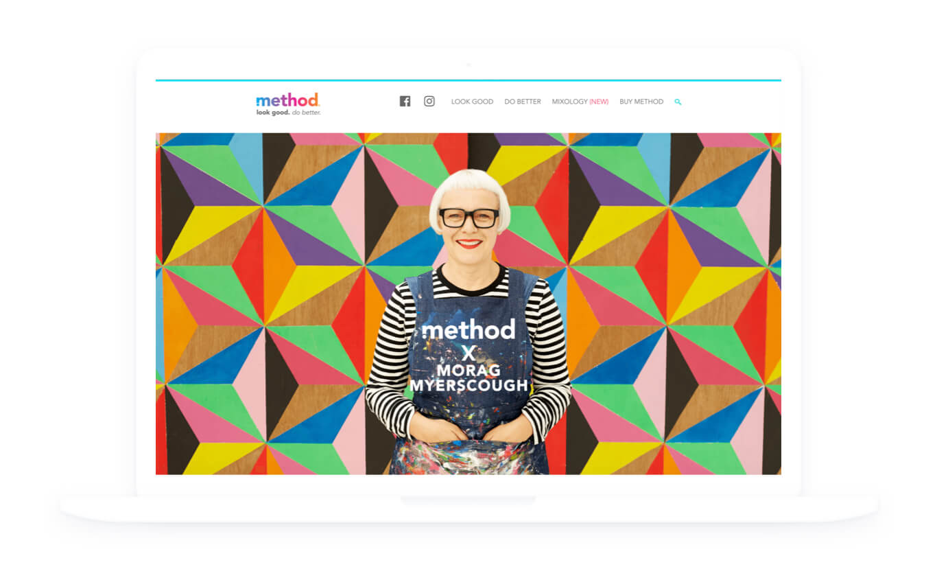 Image of method homepage featuring Morag Myerscough standing in front of her design