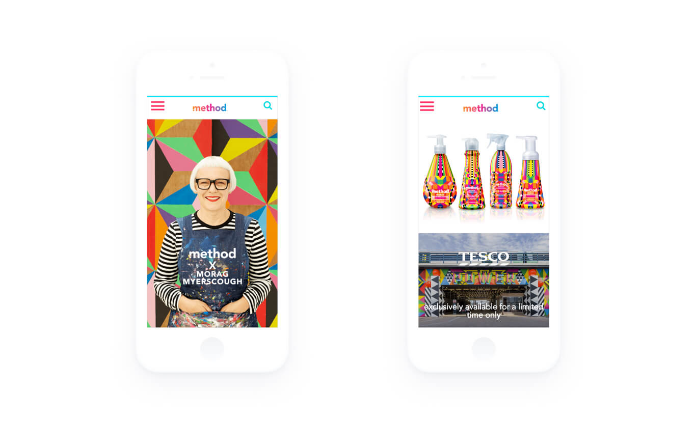 Image of two iphones showing part of the method website with Morag Myerscough on the left and method products on the right