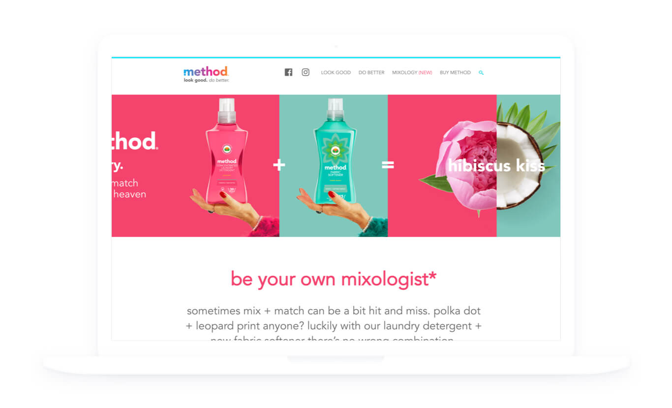 Image of the method homepage for their 'Mixology' campaign, featuring laundry detergent and fabric softener and an image of a flower and a coconut merged to demonstrate the mixing of scents