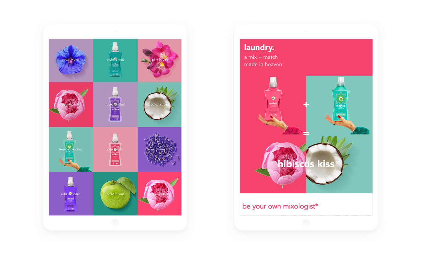 Image of the method 'Mixology' website on iphones, with a collage demonstrating the range of scents on the left and a version of the homepage image on the right