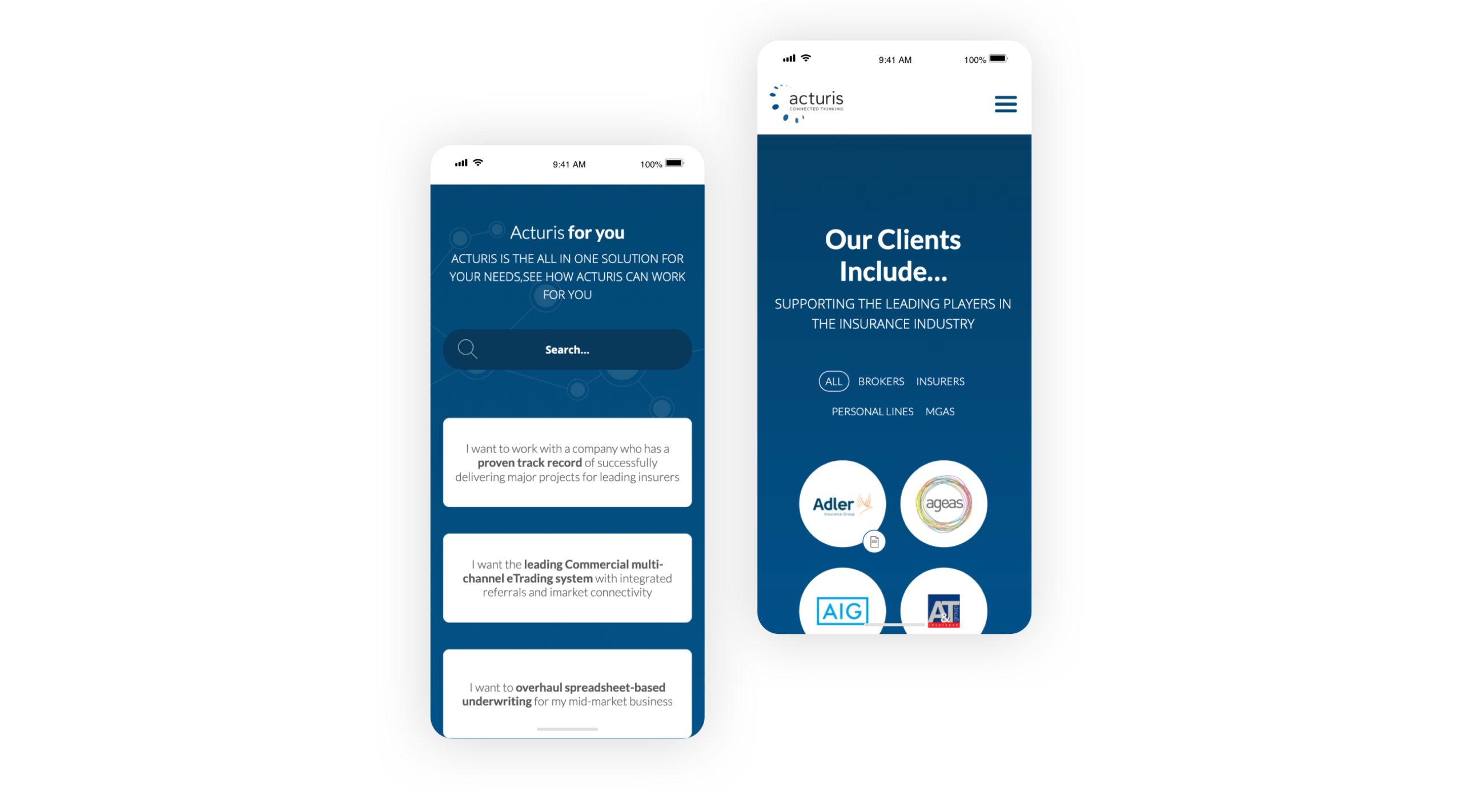 Acturis website inside mobile phone