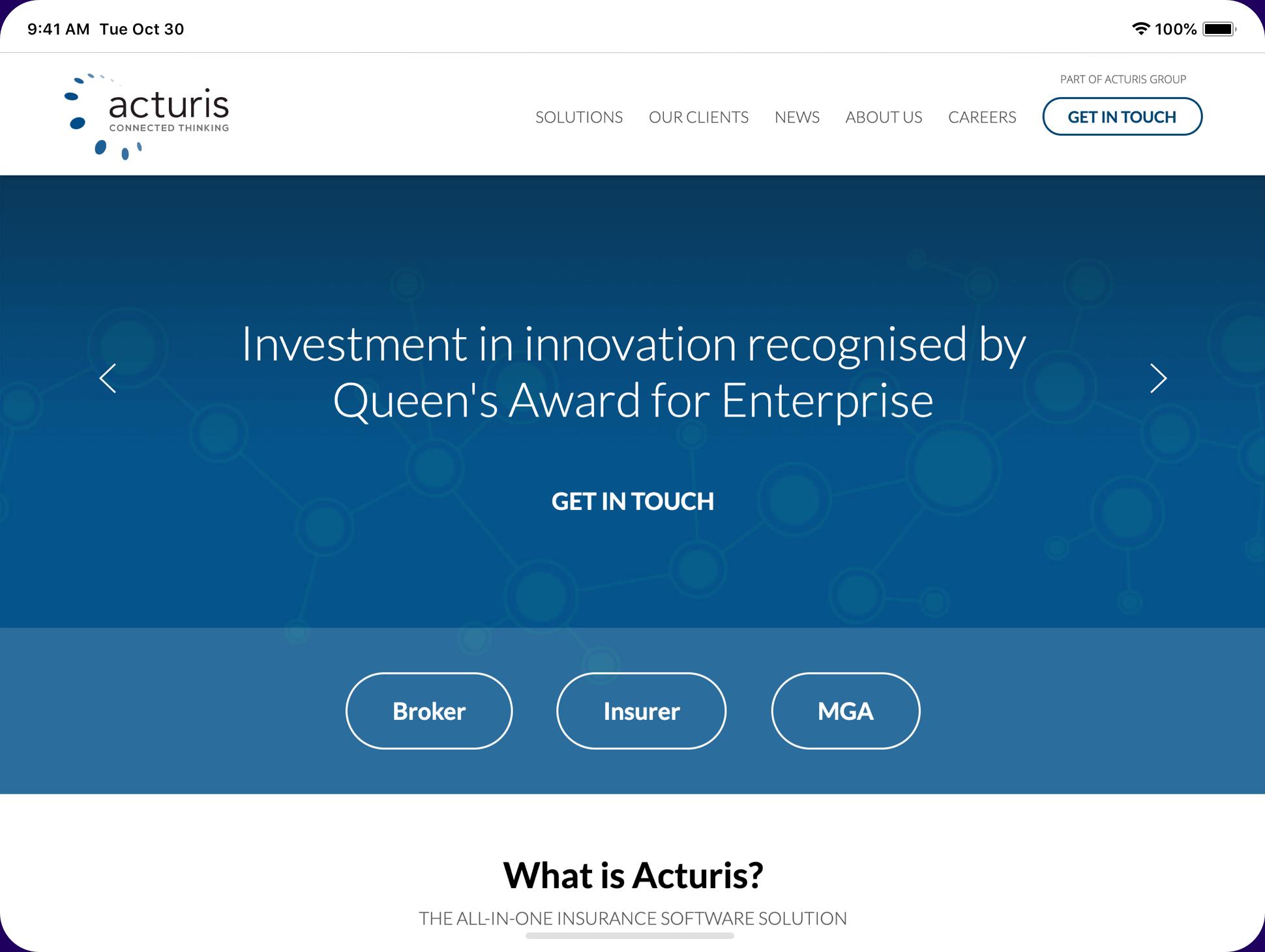 Acturis website in a tablet