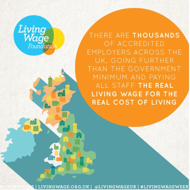 Image of a map of the UK, with dots representing the 5,500 accredited Living Wage employers