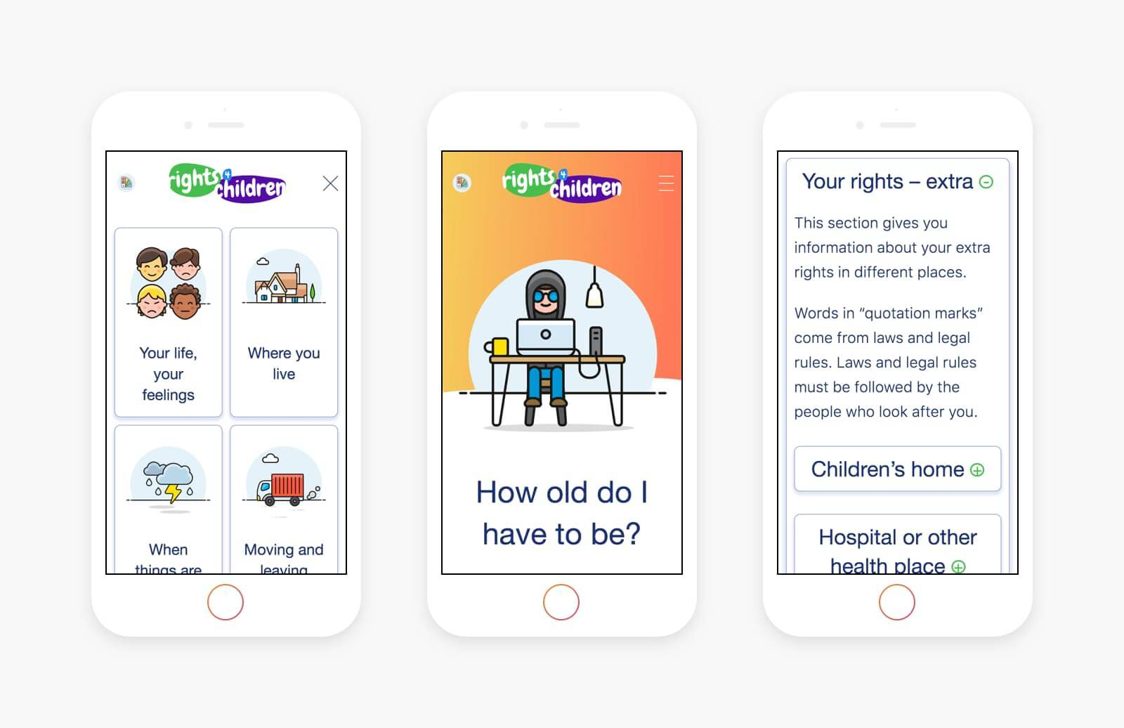 User experience design for rights for children website