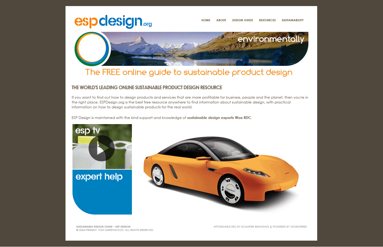 Screenshot of the ESP Design homepage