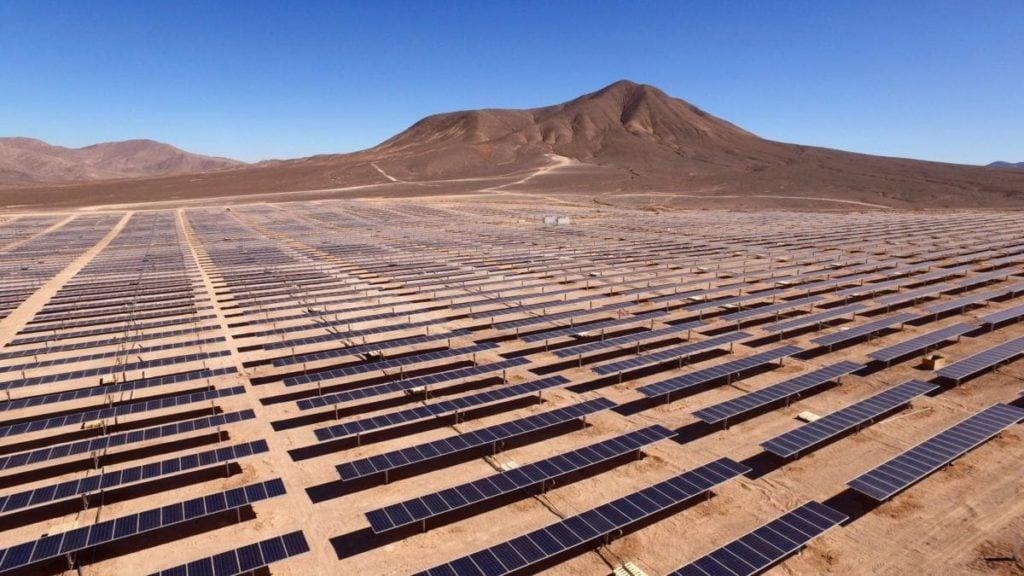 Solar panels in the desert in Región de Antofagasta, Chile