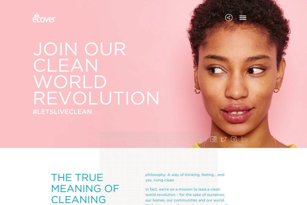 Screenshot of the Ecover.com homepage