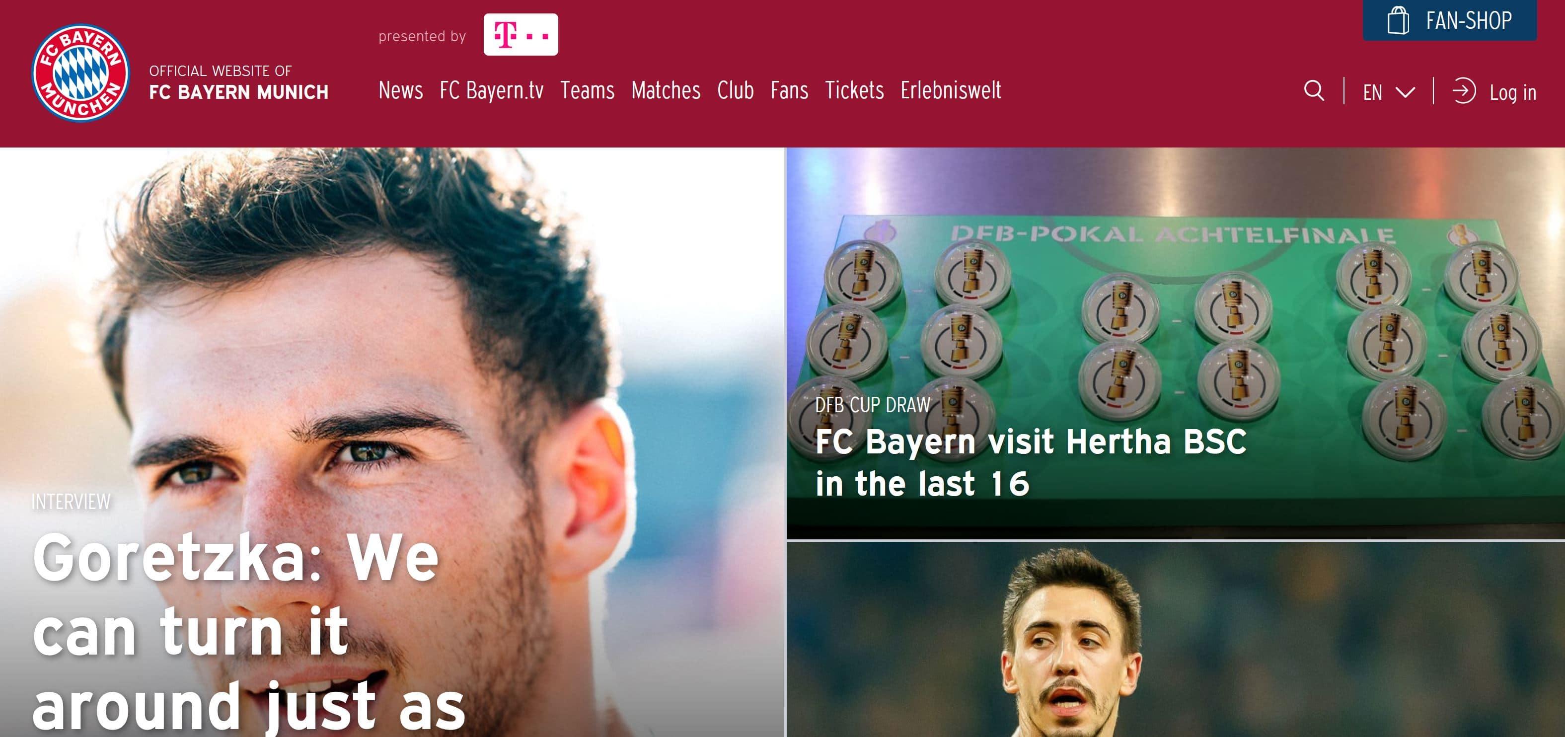 Screenshot of the FC Bayern standard homepage