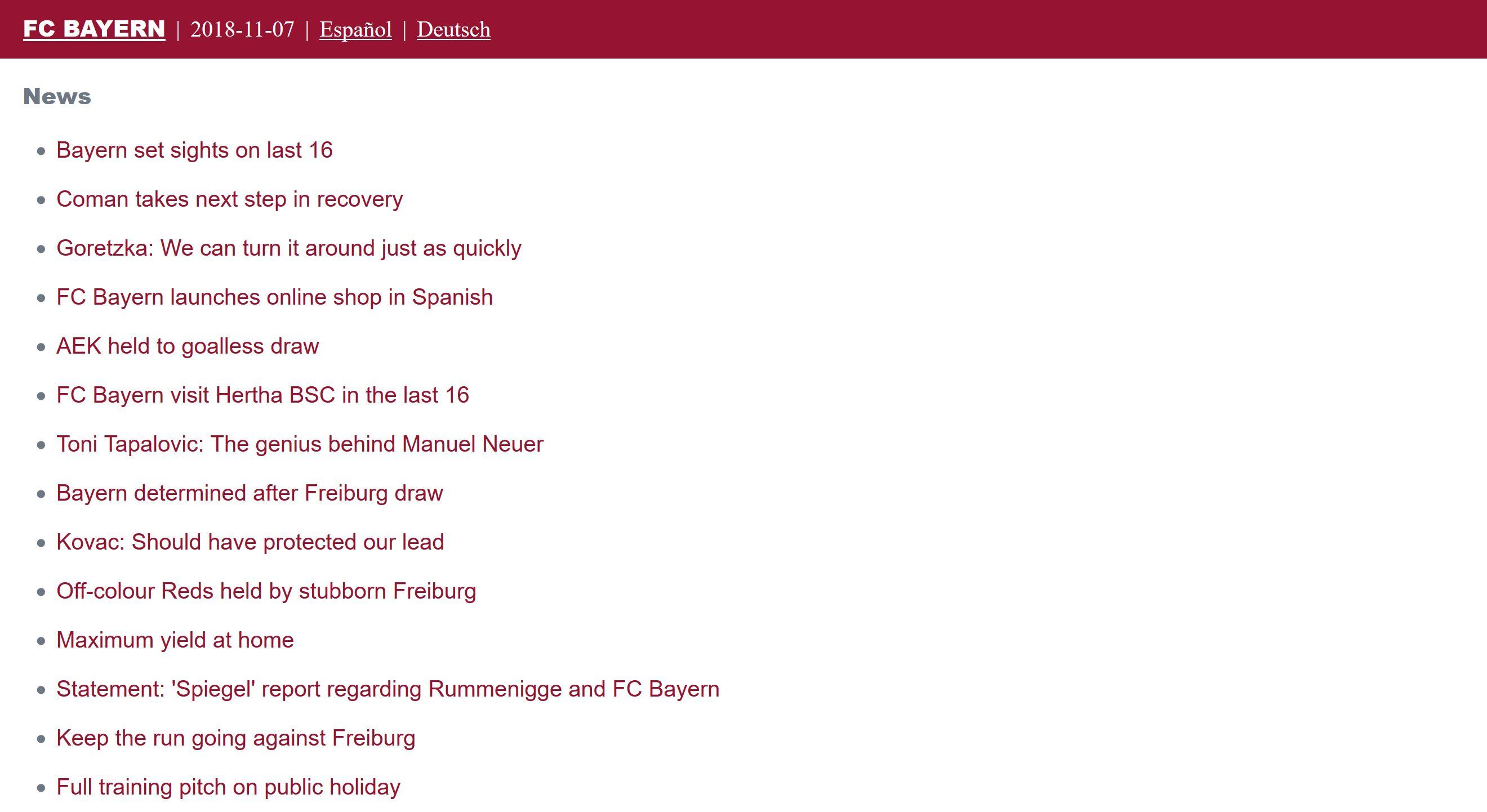 Screenshot of the FC Bayern Lite homepage