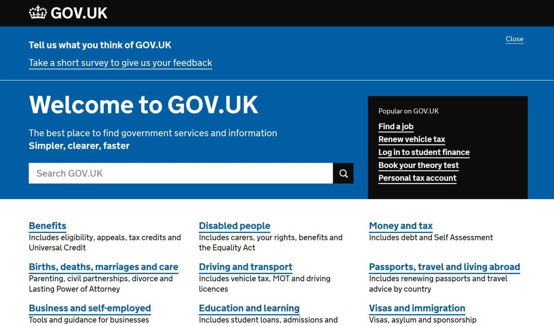 A screenshot of the gov.uk homepage