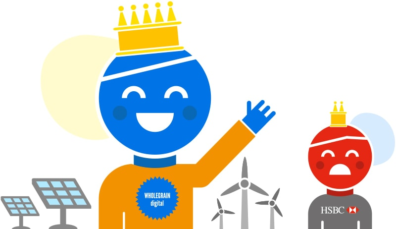 Cartoon showing happy Wholegrain Digital employee next to solar and wind farms with less happy HSBC employee in the background
