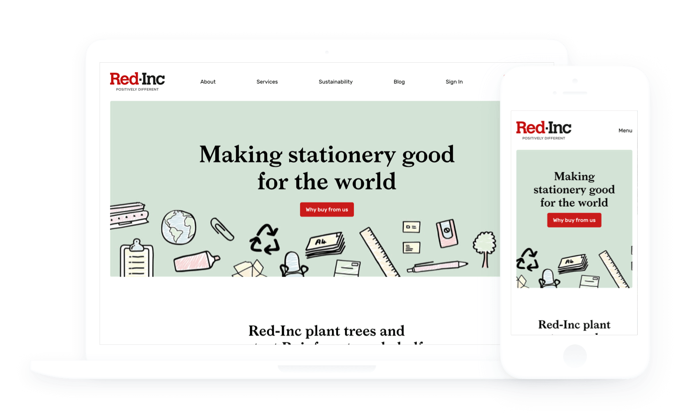 Image of the Red Inc website homepage displayed on a laptop and an iPhone.