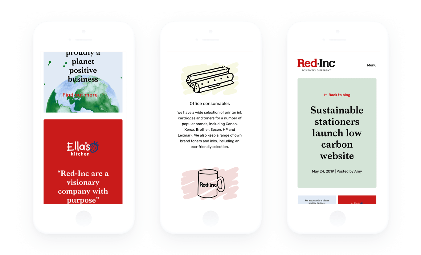 Image of 3 mobile phones displaying different pages of Red Inc's website displaying