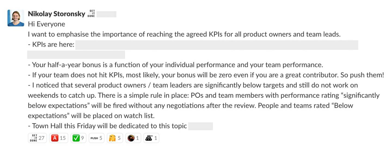 Screenshot of the leaked slack message