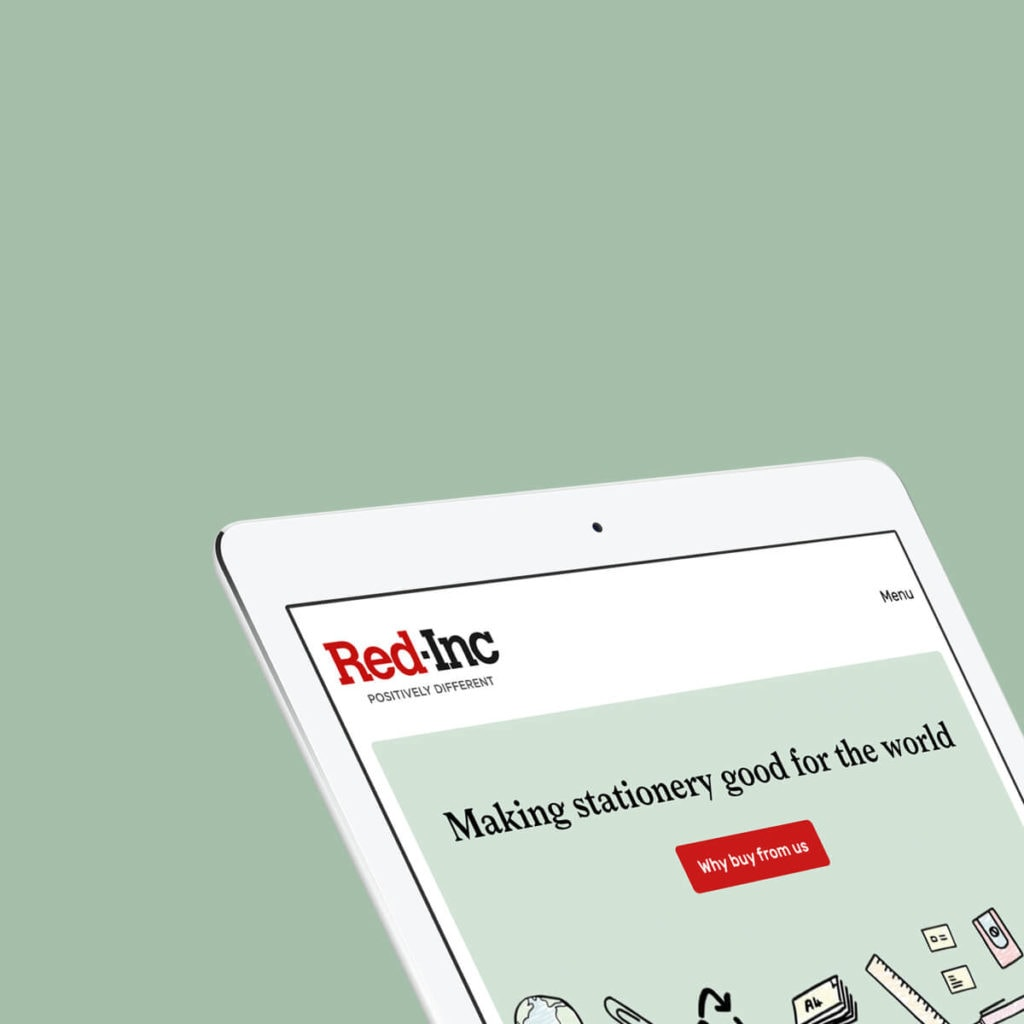 Image of Red Inc website homepage on an ipad with a pale green background that matches part of the website design