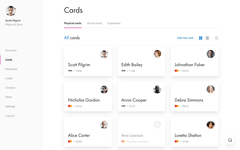 Screenshot of the Revolut business card dashboard