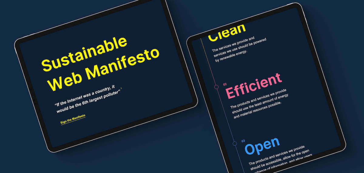 Screenshot of the Sustainable Web manifesto website on a tablet