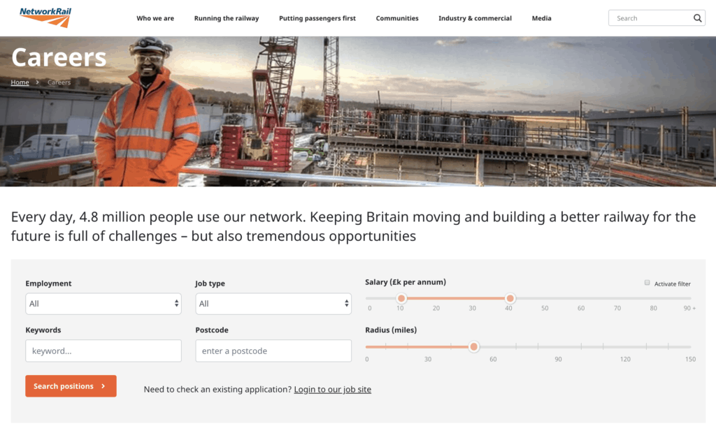 Network rail jobs page screenshot