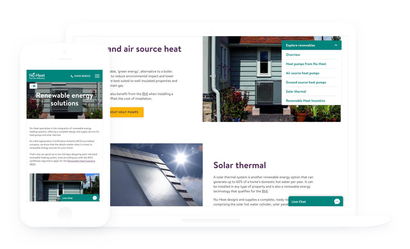 image of nu-heat's new website