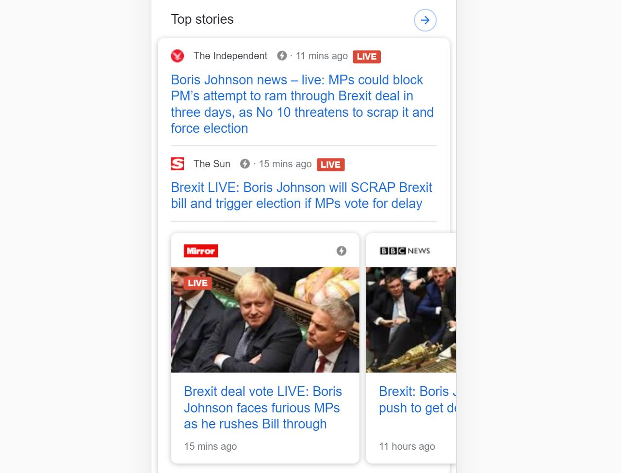 Screenshot of mobile Google results showing AMP articles at the top