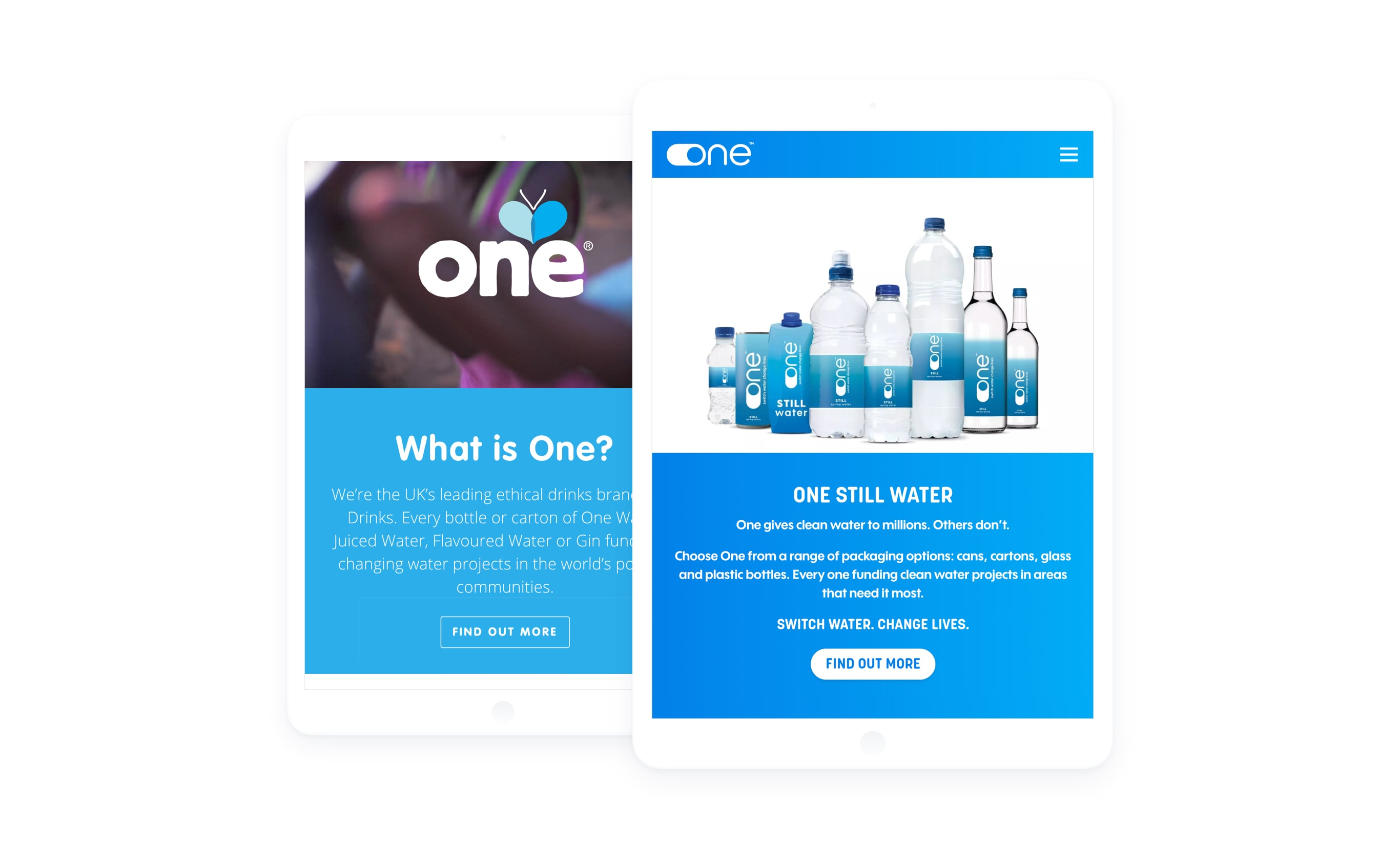 Two tablet, each showing the one water homepage. The one on the left has the old design and the one on the right shows the new website