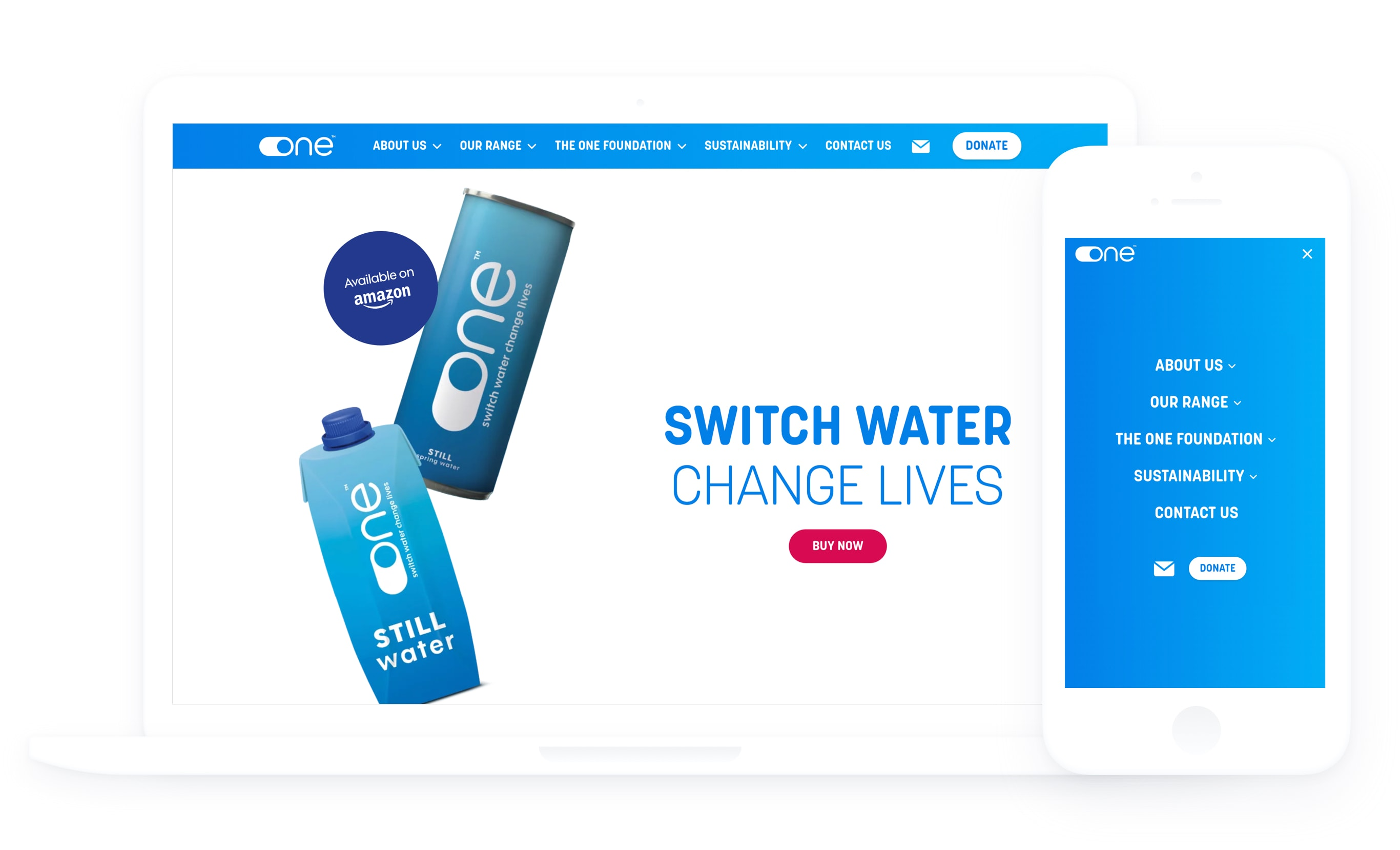 One Water homepage displayed on a tablet with a mobile phone next to it, displaying the website menu