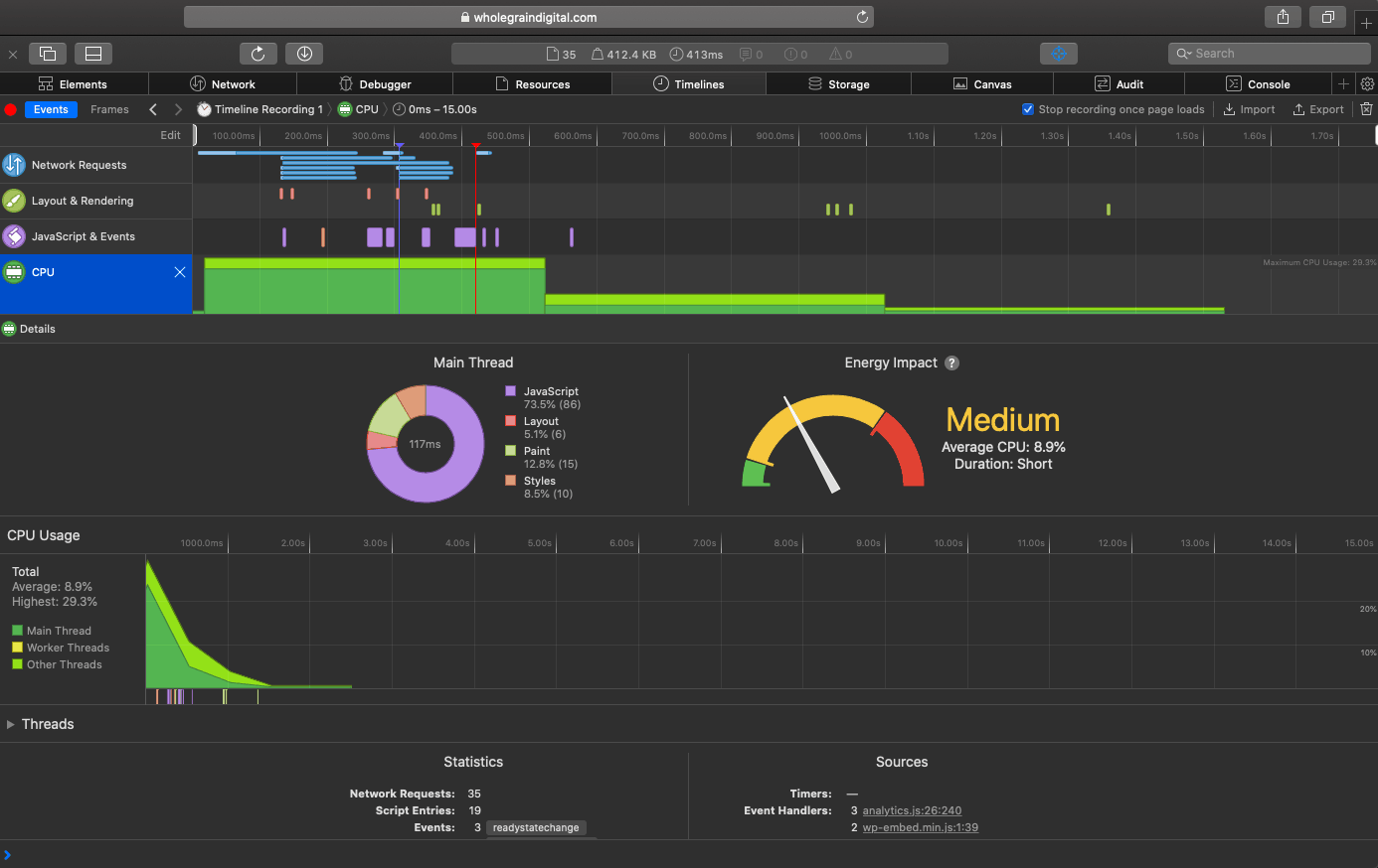 Safari Web Inspector showing energy impact of a website