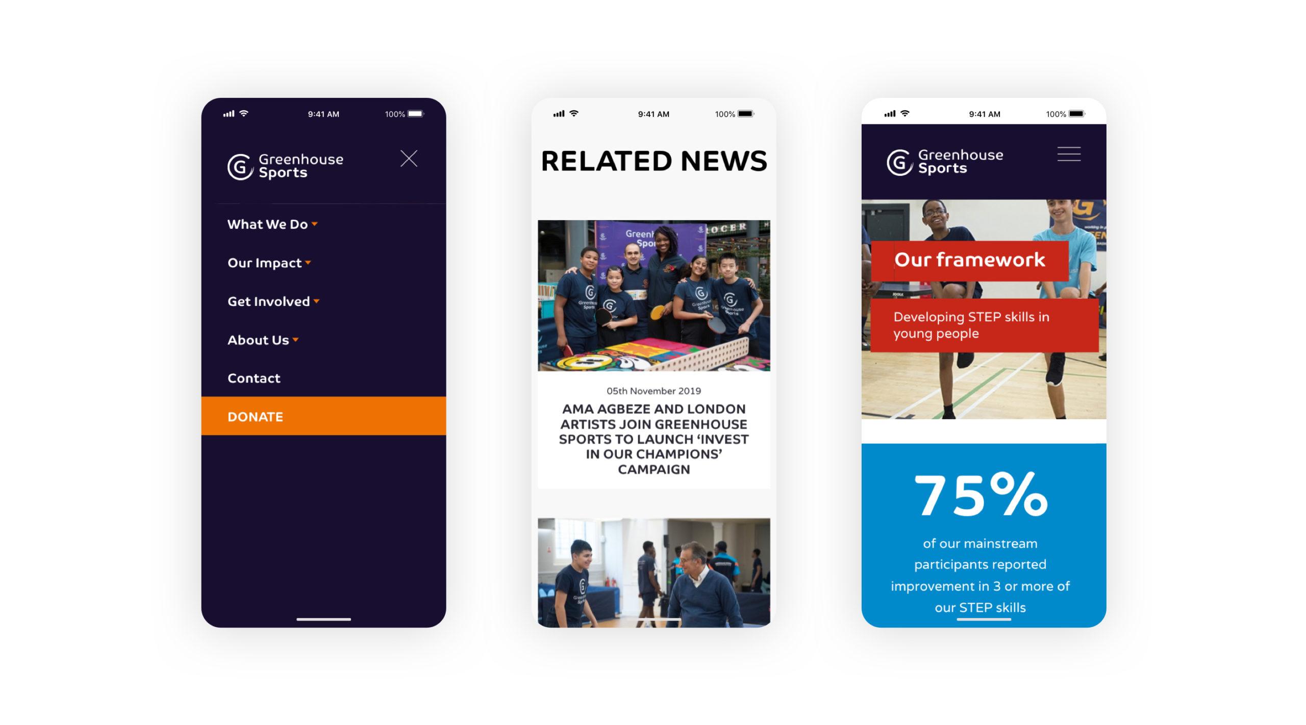 greenhouse sports charity homepage screenshot