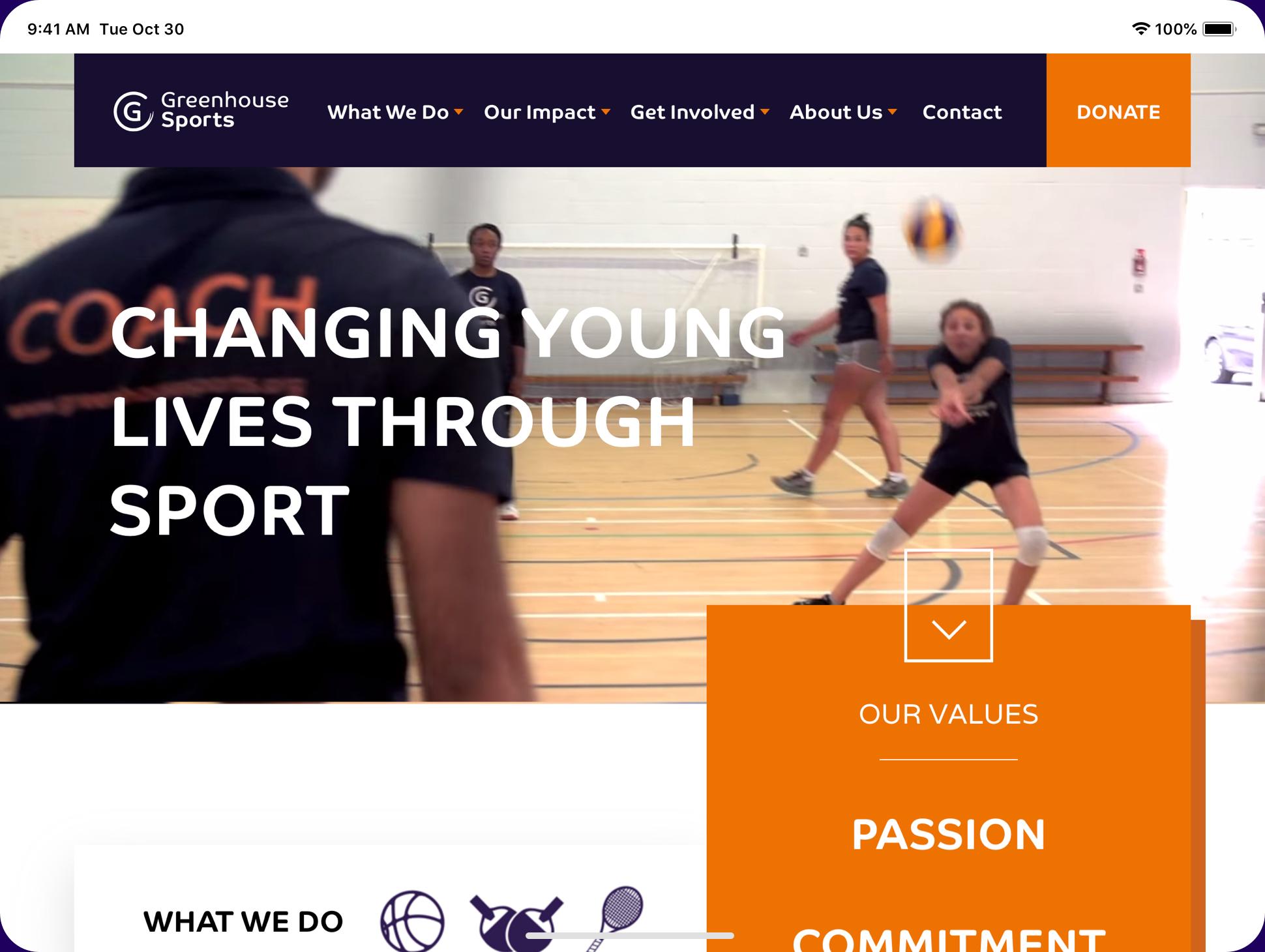 Greenhouse sports website screenshot