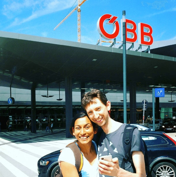 Vineeta and Tom outside Vienna central station