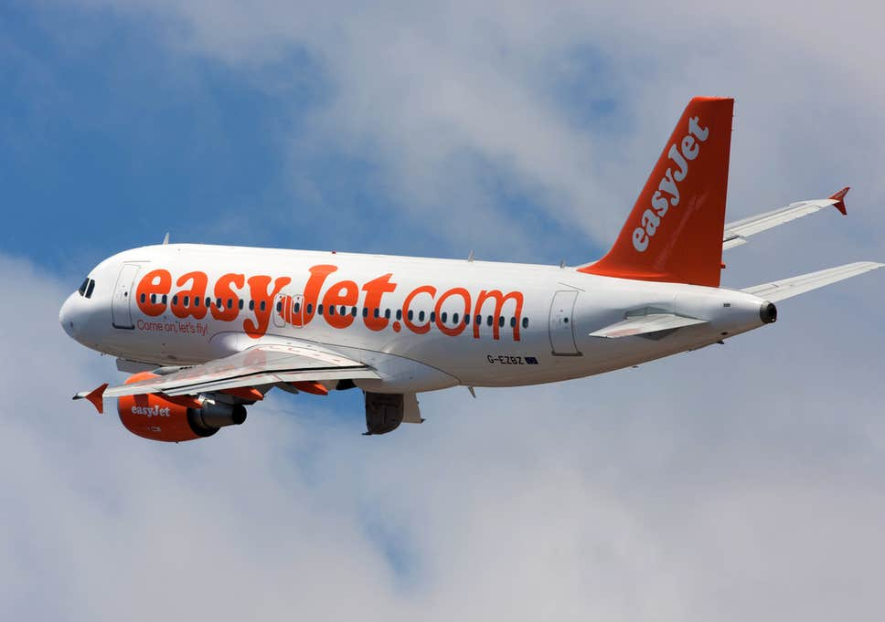 EasyJet plane in the air