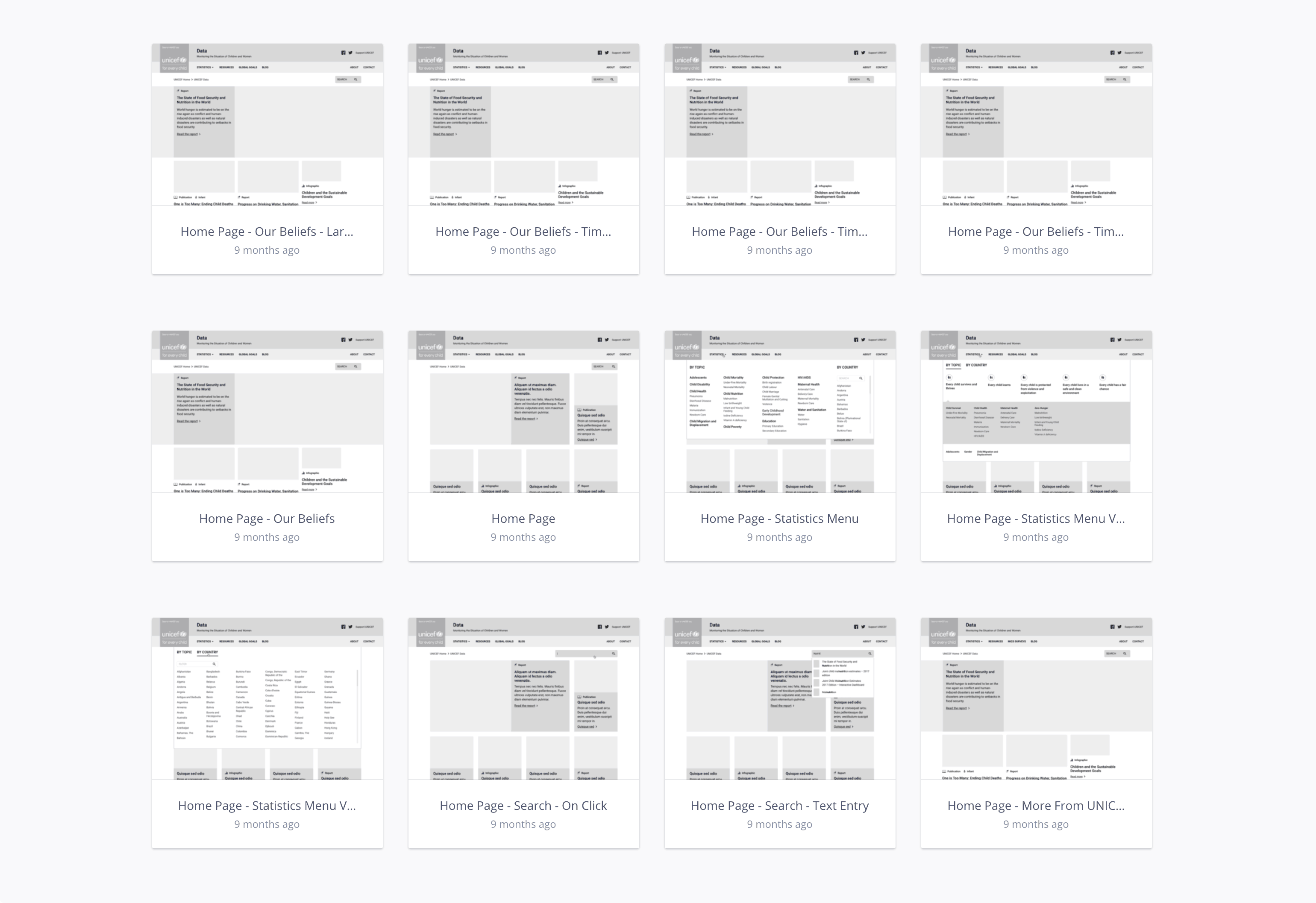 screenshots of UNICEF wireframes