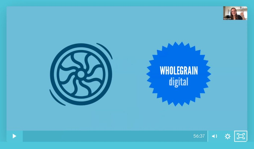 Flywheel and Wholegrain logos on a blue screen