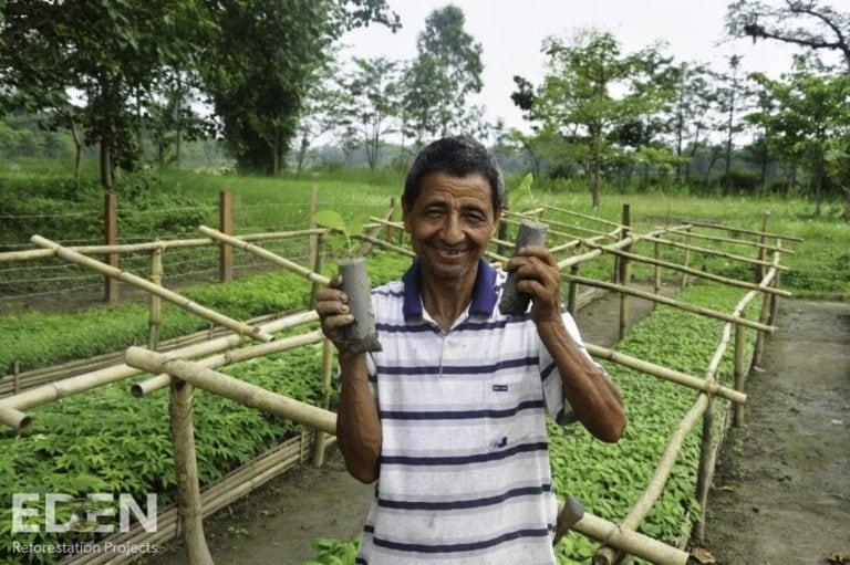 Man holding tree saplings