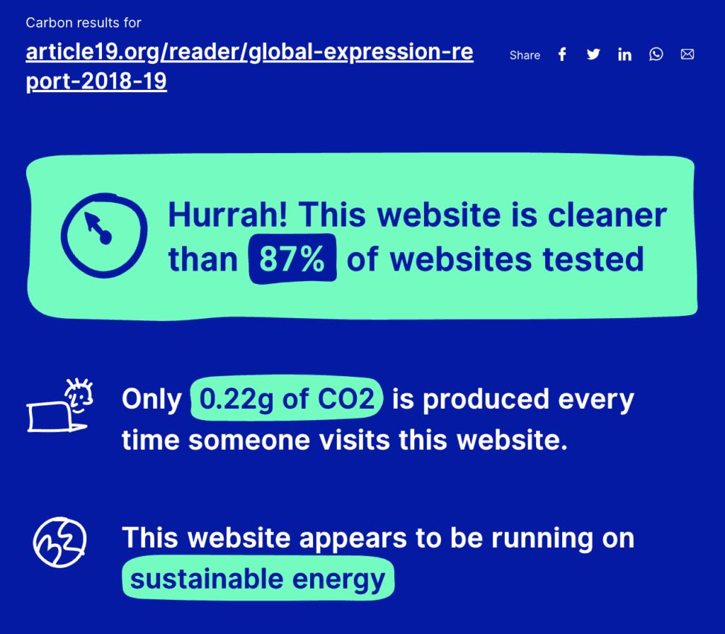 article 19 online reader web carbon calculator result