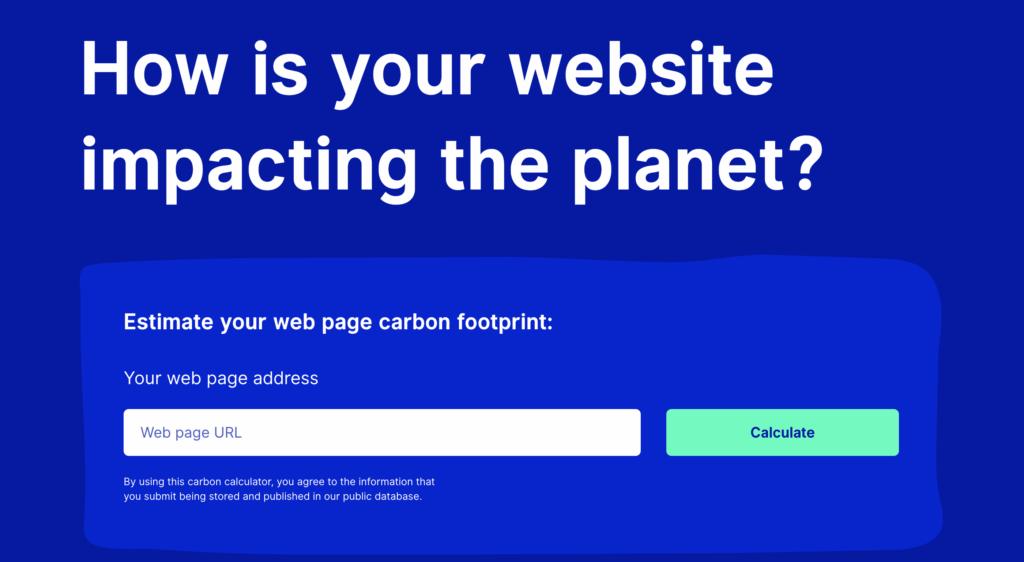 screenshot of website carbon calculator