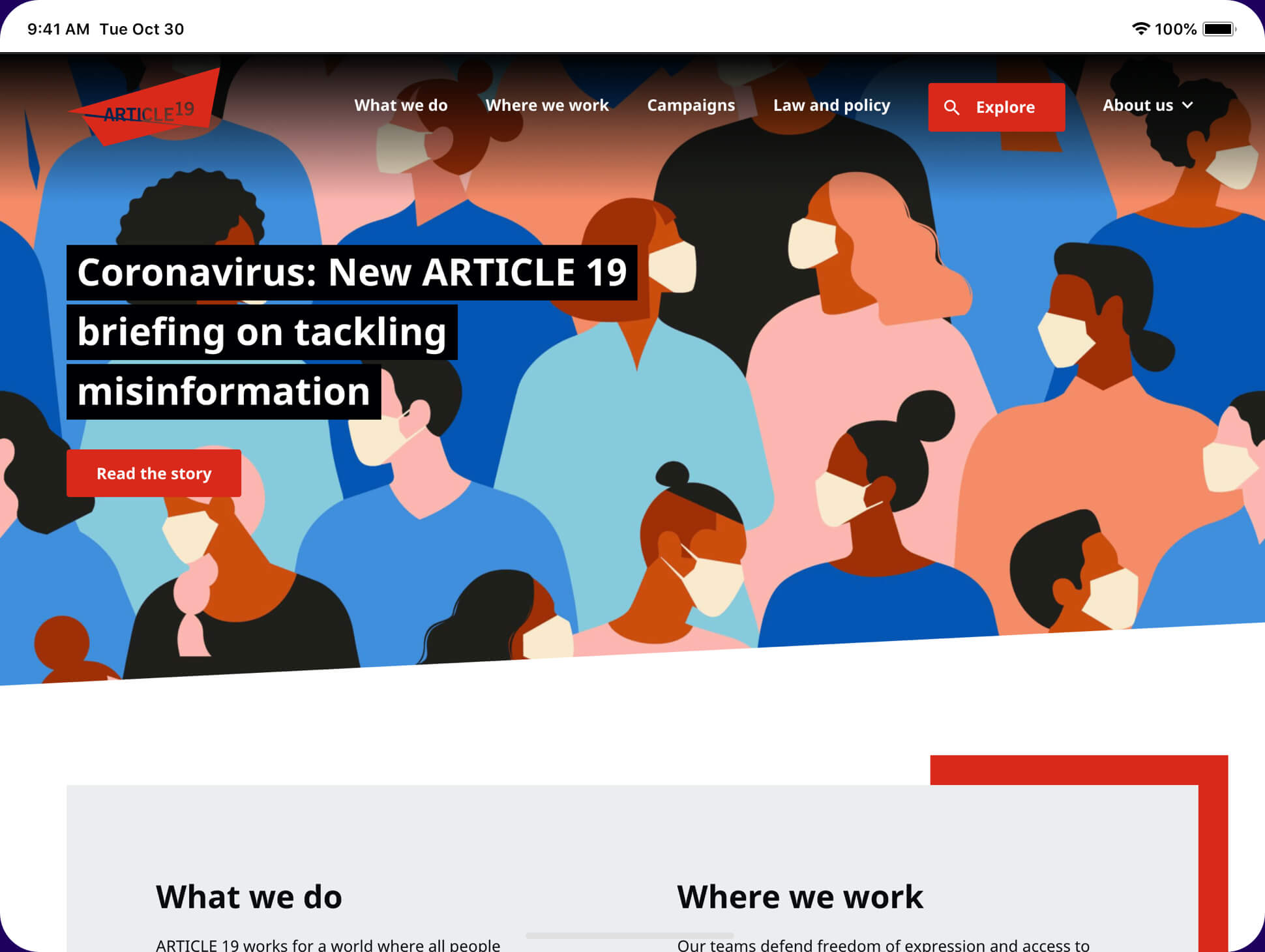 image of article 19 homepage