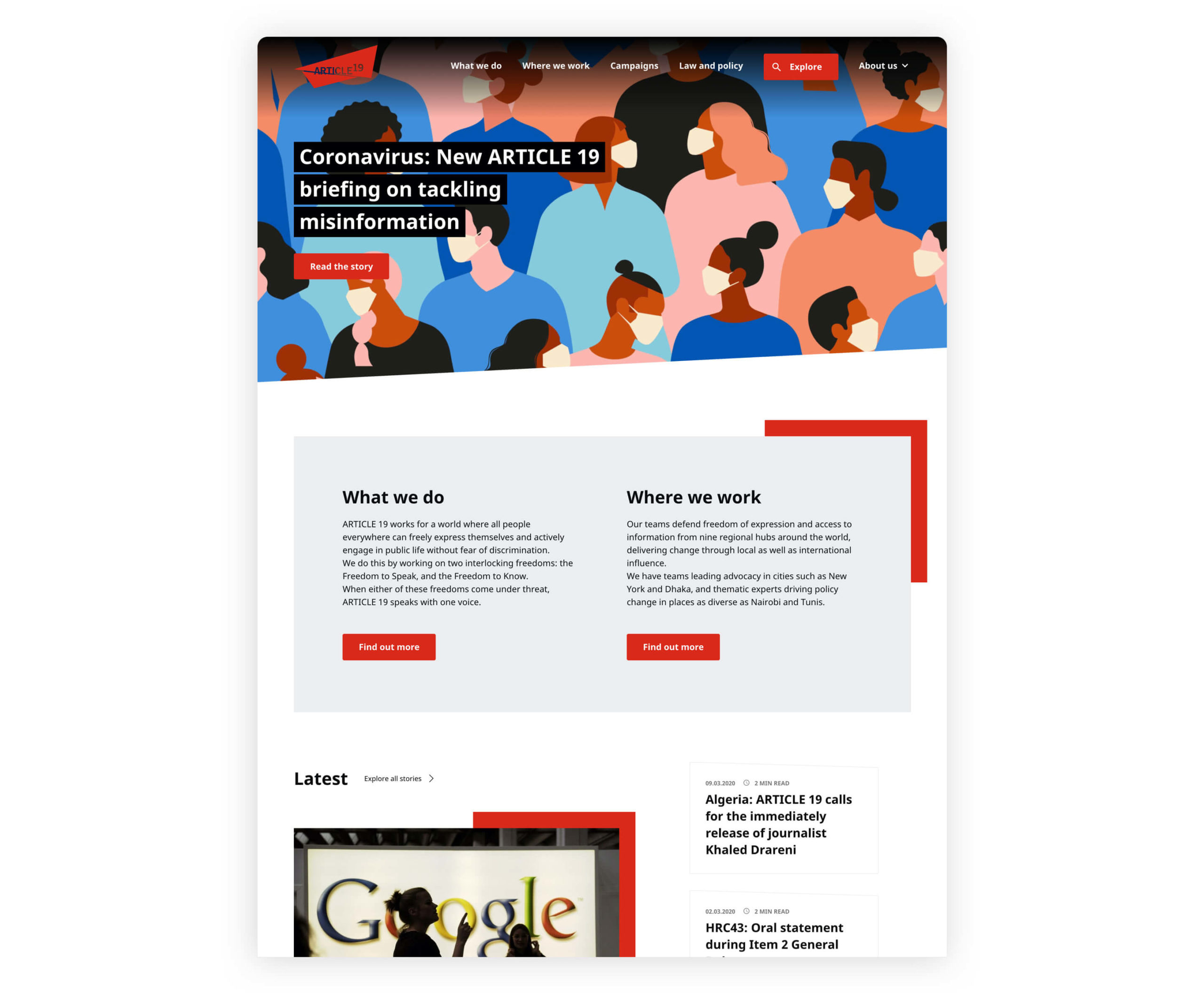image of article 19 website
