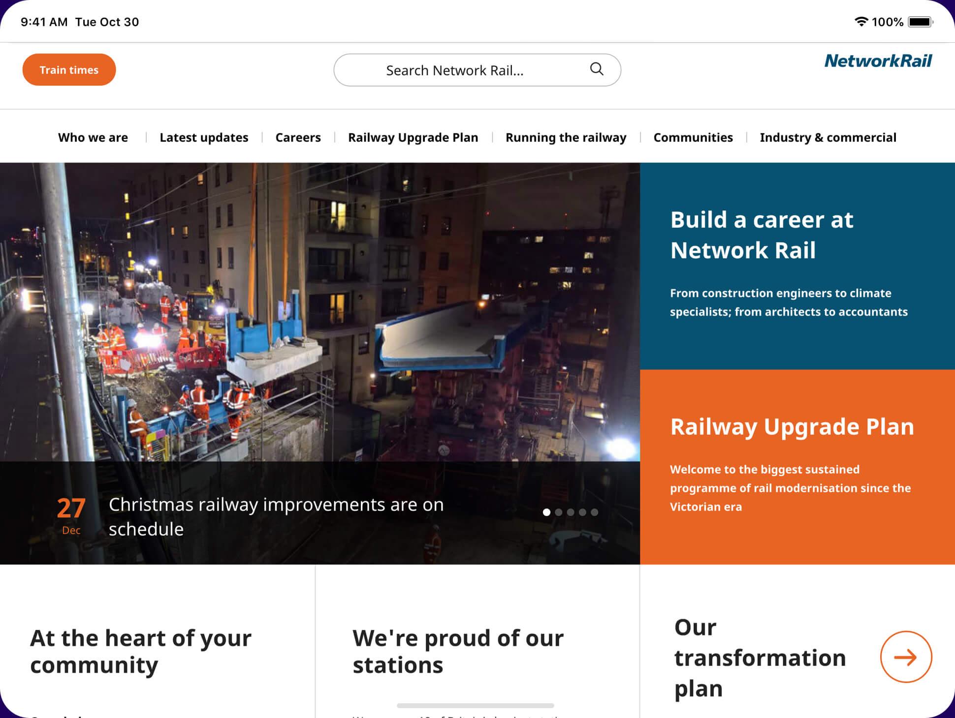 Network-rail website screenshot