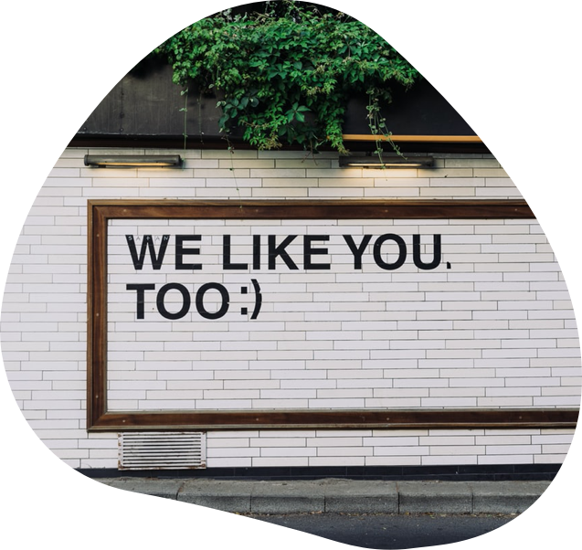 Brick wall with text - we like you too