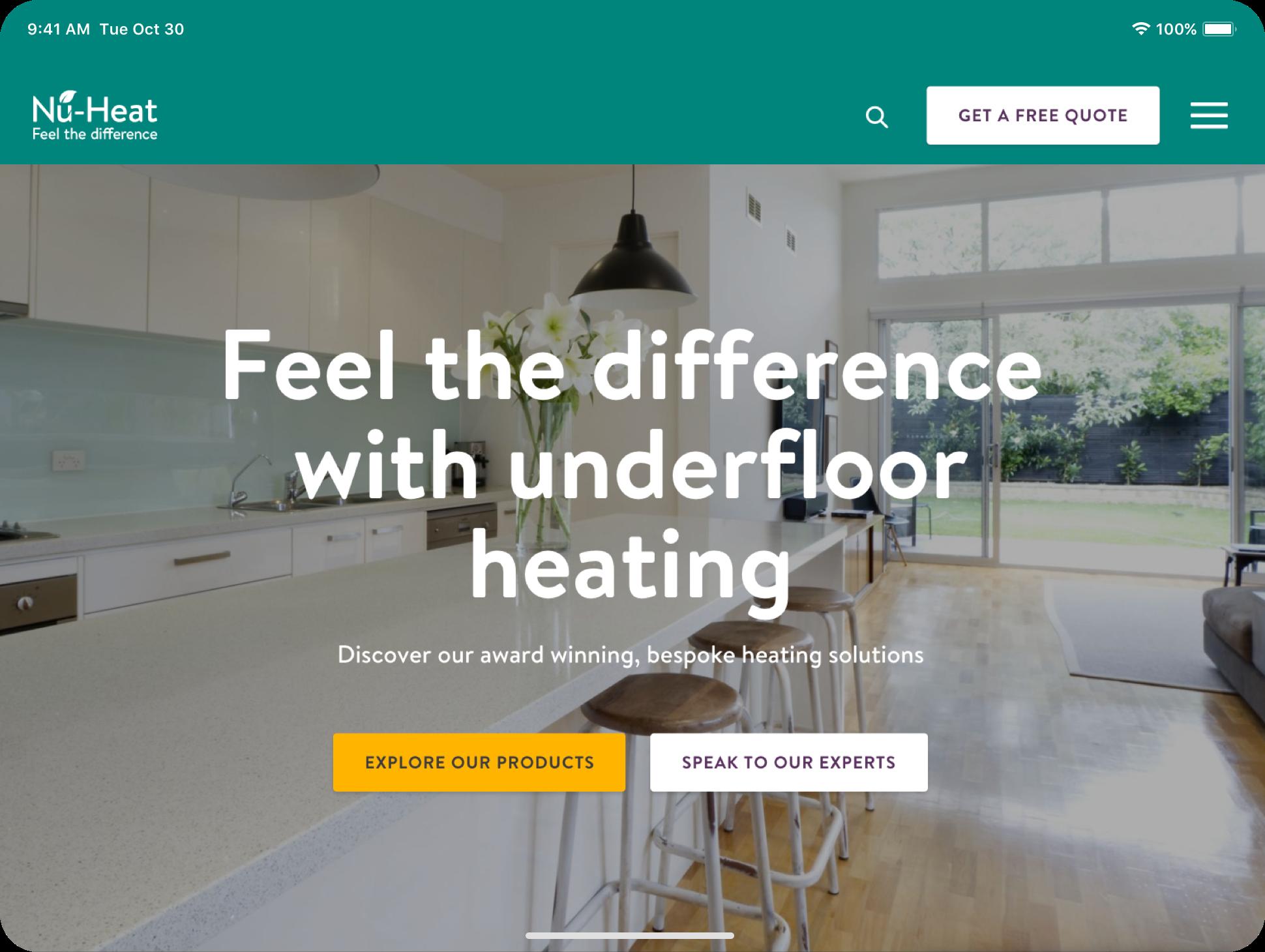 image of nu-heat website on a desktop