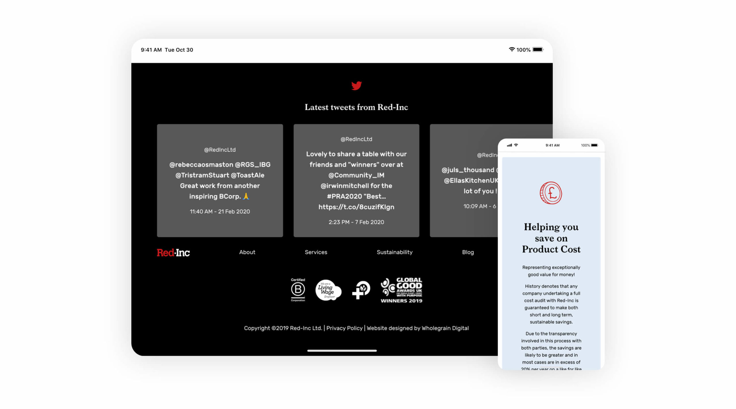 Red Inc website in mobile and tablet