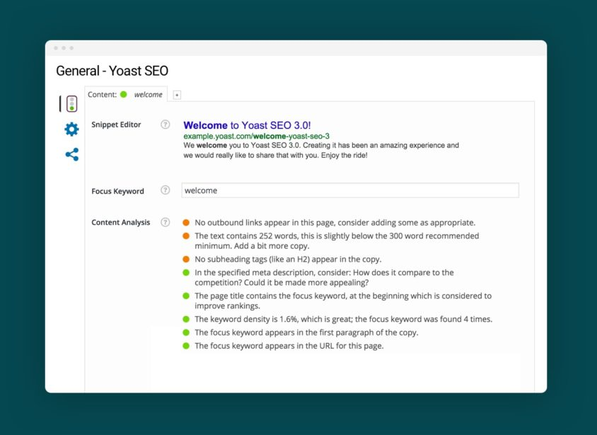 dashboard of yoast