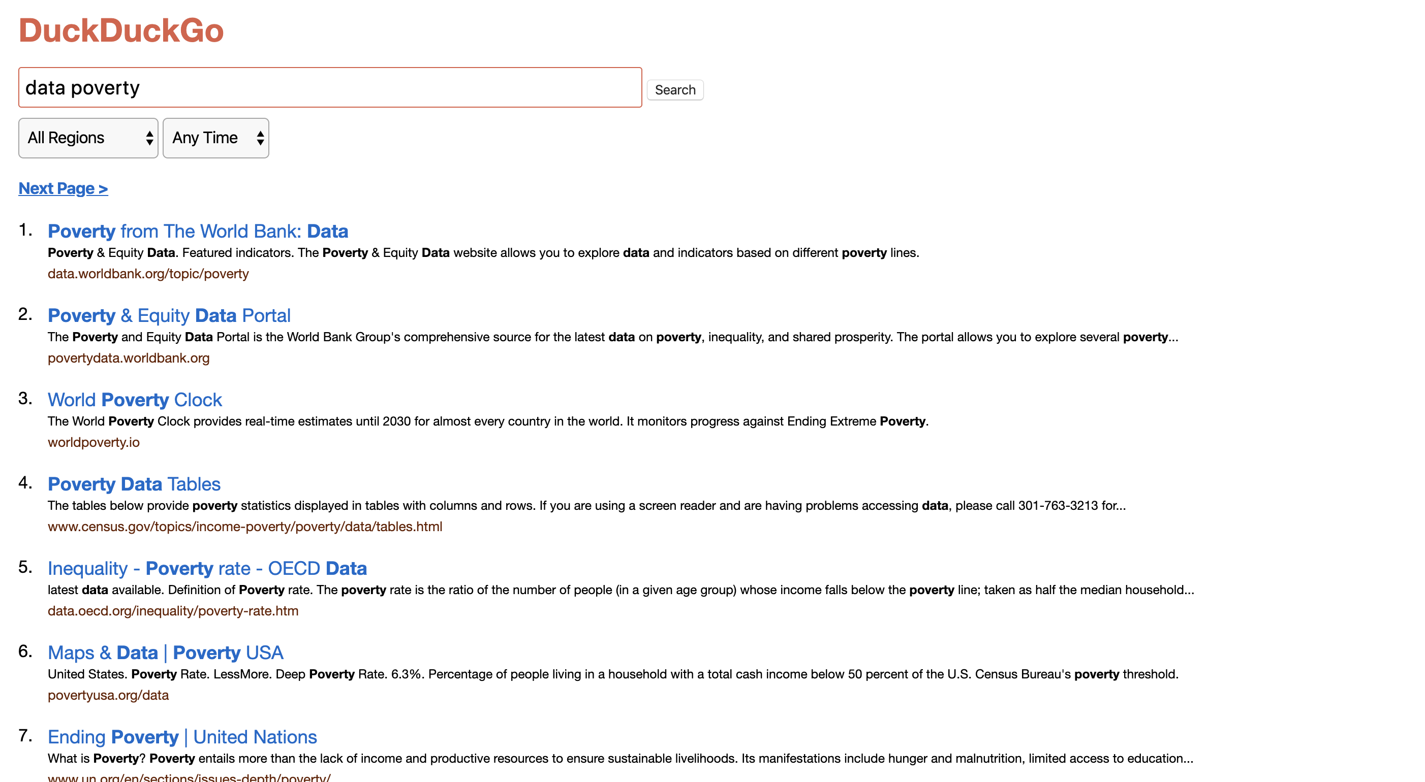 Screenshot of DuckDuckGo Lite showing search results for the term data poverty