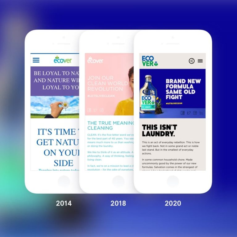 Image showing three different iterations of the Ecover website displayed on phones