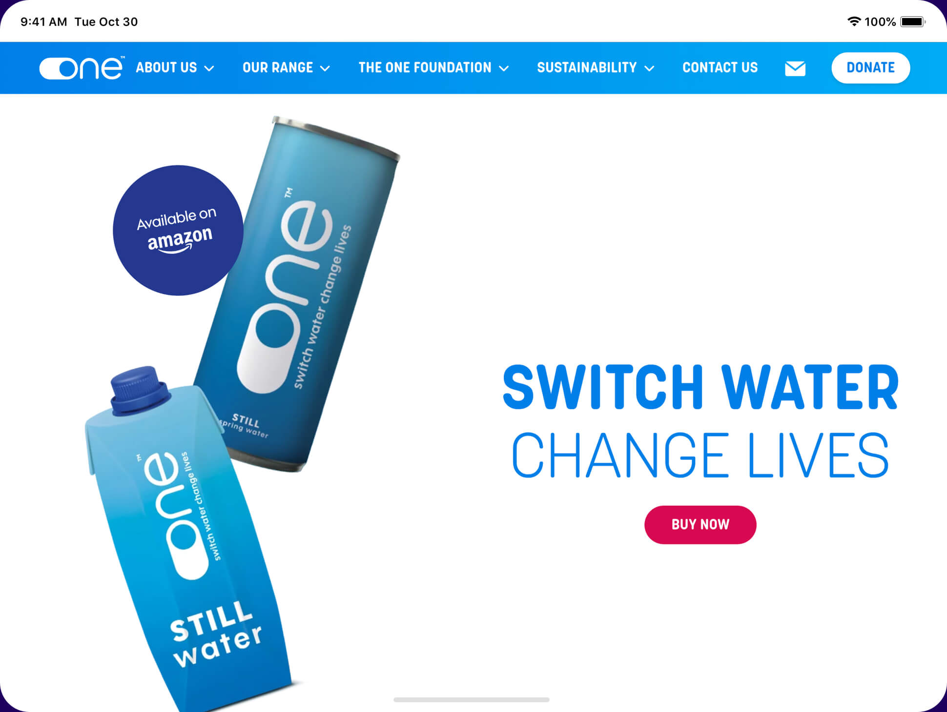 one water website screenshot